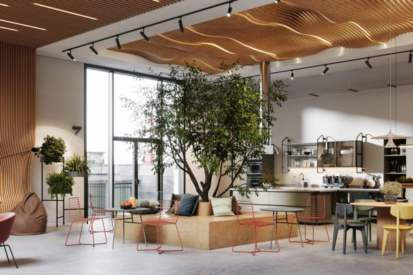 Creative office interior with cafeteria. 3D Rendering of modern and bright open plan office space.
